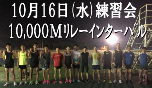 10月16日練習会(10000mリレーインターバル)